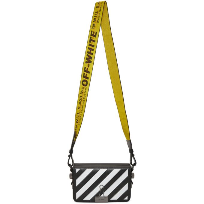 Black Diagonal Mini Binder Clip Flap Bag by Off White