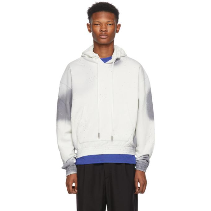 OFF-WHITE Men'S Spray-Over Distressed Hoodie Sweatshirt in Grey