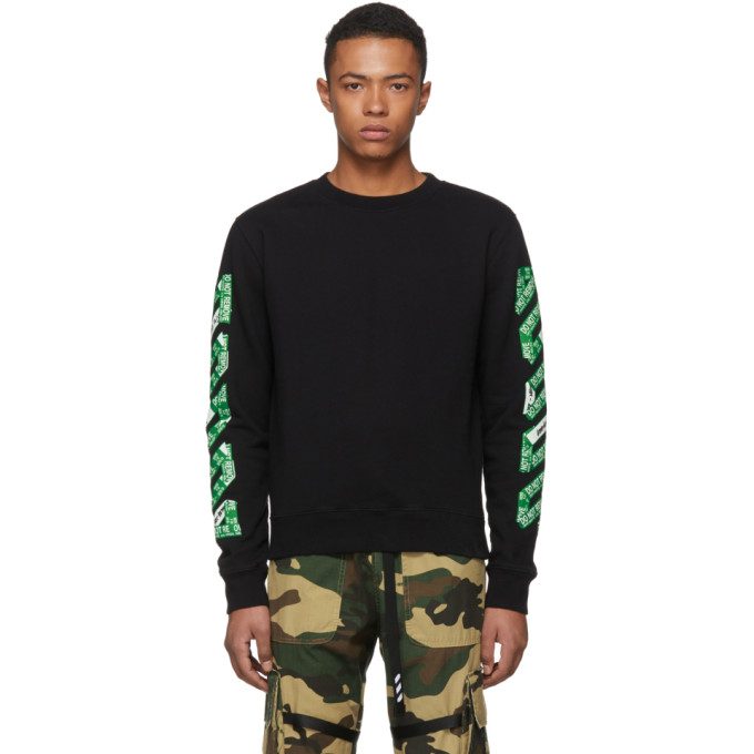 c462f7988077 Off-White Ssense Exclusive Black Diag Arrows Long Sleeve T-Shirt In Black