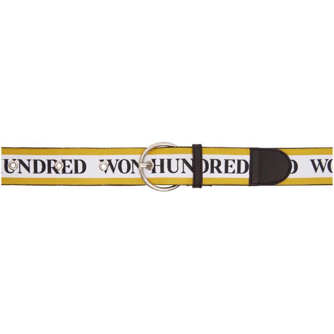 WON HUNDRED Won Hundred Yellow And White Lisbon Logo Belt in 5758 Sunset