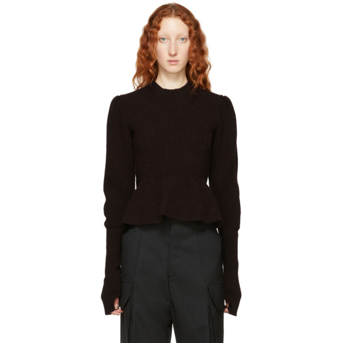 LEMAIRE BROWN WOOL PUFFY SWEATER
