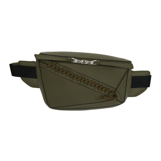 LOEWE Puzzle Army Green Leather Belt Bag, Khaki