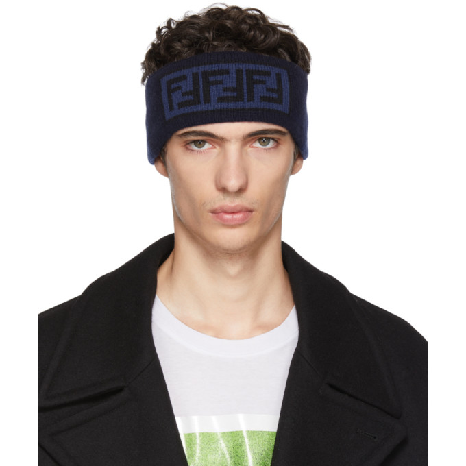 FENDI Blue FF Logo Headband