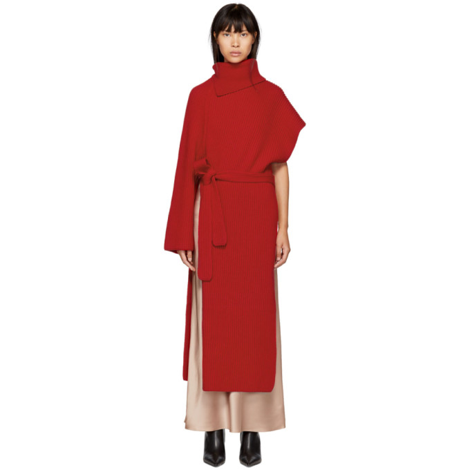 ROSETTA GETTY RED CASHMERE ASYMMETRIC WRAP TUNIC DRESS