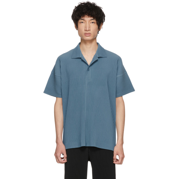 Blue June Pleated Polo Homme Plissé Issey Miyake