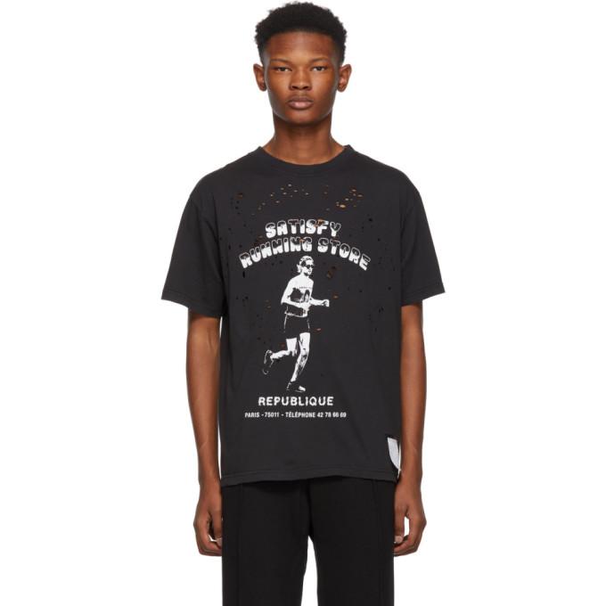 SATISFY Satisfy - Bootleg Moth Eaten Cotton T Shirt - Mens - Black in Wash Black