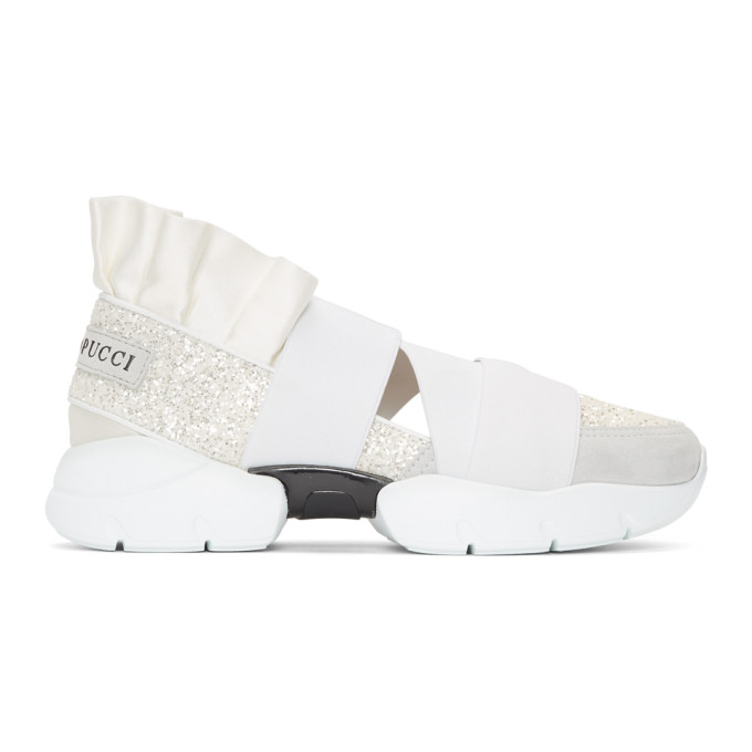 Leather-Trimmed Sneakers, A79 White