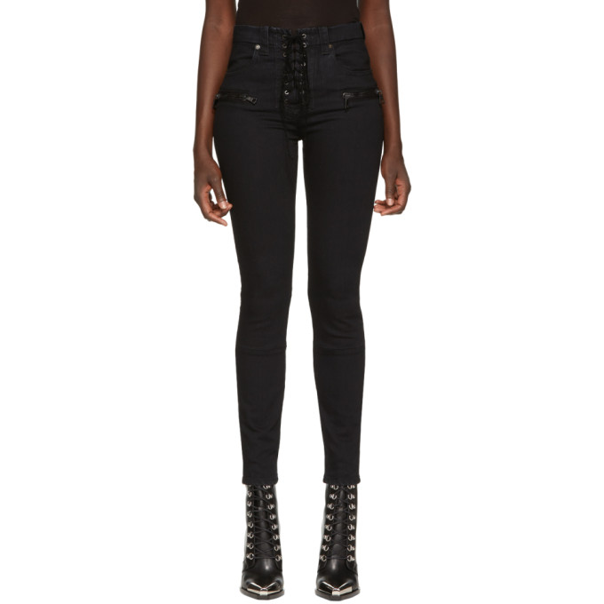 UNRAVEL BLACK LACE UP WAXED JEANS