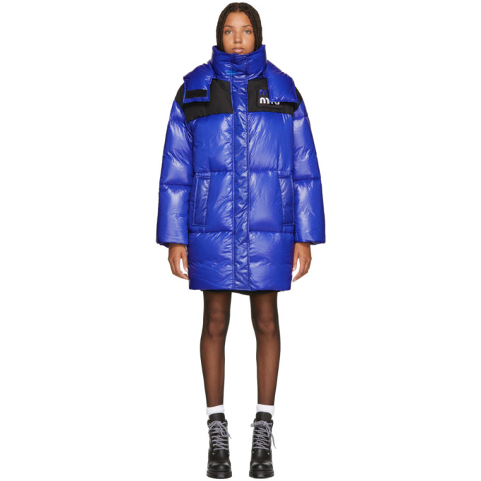 Long Quilted Long Logo Patch Padded Jacket, F0016 Bluet