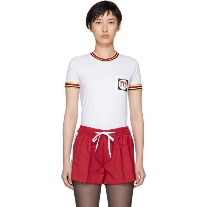 MIU MIU Appliquéd Striped Cotton-Jersey T-Shirt, F0009 White