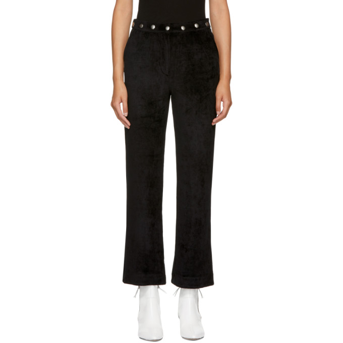 Alexachung Black Velvet Popper Tracksuit Trousers, Washed Blk