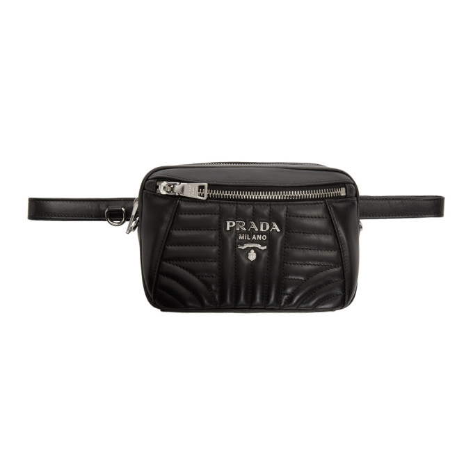 Black Quilted Belt Bag by Prada