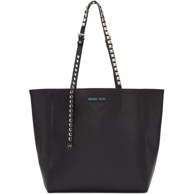 Studded Logo Tote Bag in Black