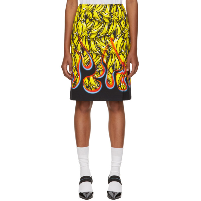 Banana And Flame-Print Wrap Cotton Skirt in F0D7A Multi