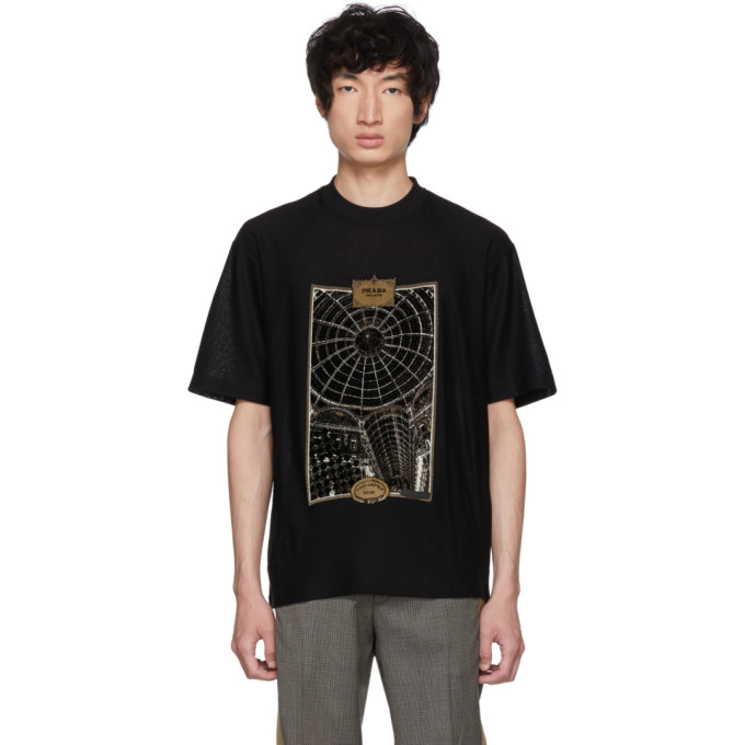 Black Jacquard Jersey T Shirt by Prada
