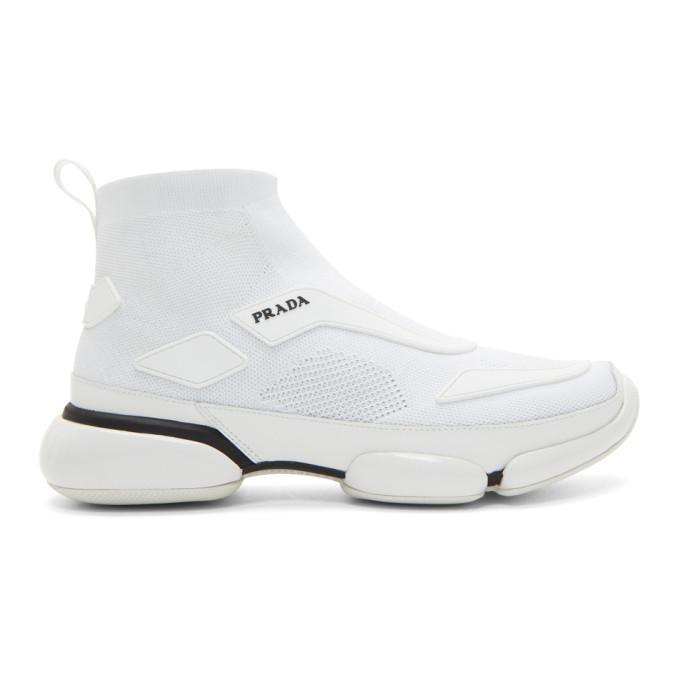 PRADA Cloudbust High-Top Knit Trainers in White