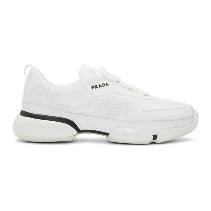 Prada White Sport Knit Wedge Sneakers