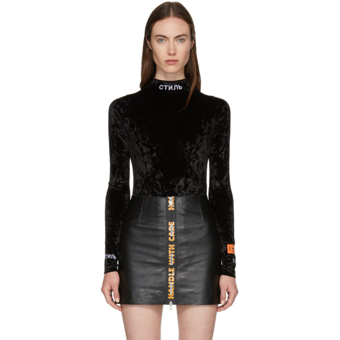 Heron Preston Ctnmb Embroidered Velvet Bodysuit, Black
