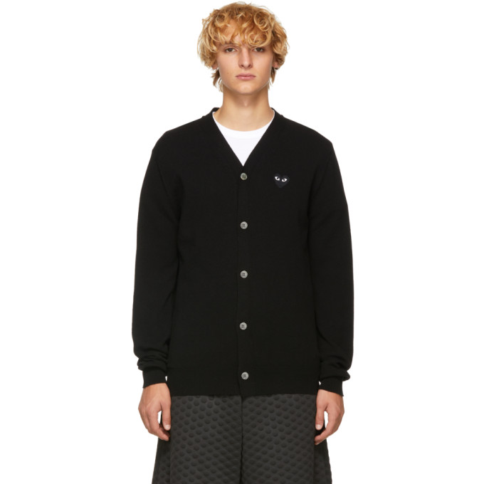 Black Men's Fit Heart Patch V Neck Cardigan by Comme Des GarÇons Play