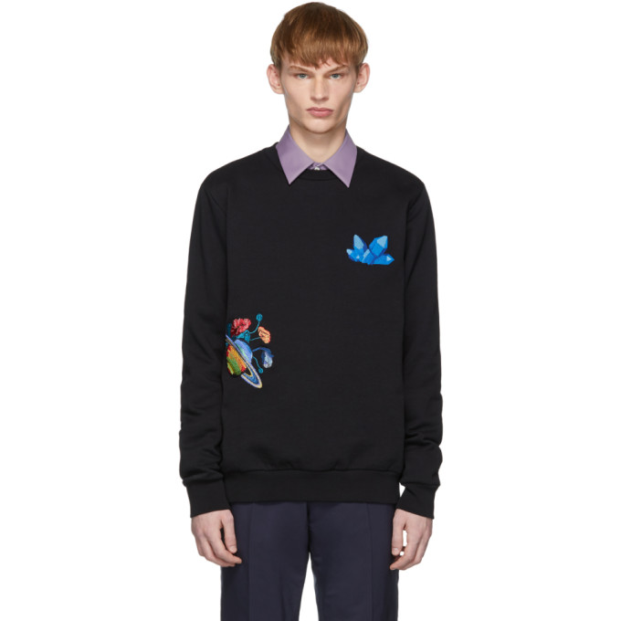 Black Explorer Gem Planet Sweatshirt by Paul Smith