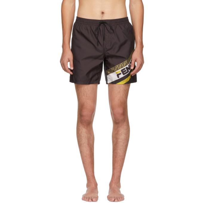 Black 'fendi Mania' Tech Swim Shorts by Fendi