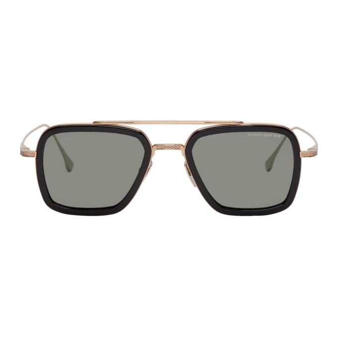 DITA Dita Black And Gold Flight.006 Aviator Sunglasses in Blk/Rosegol