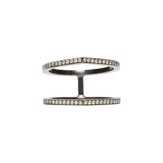 REPOSSI BLACK GOLD PAVE DIAMOND DOUBLE ANTIFER RING