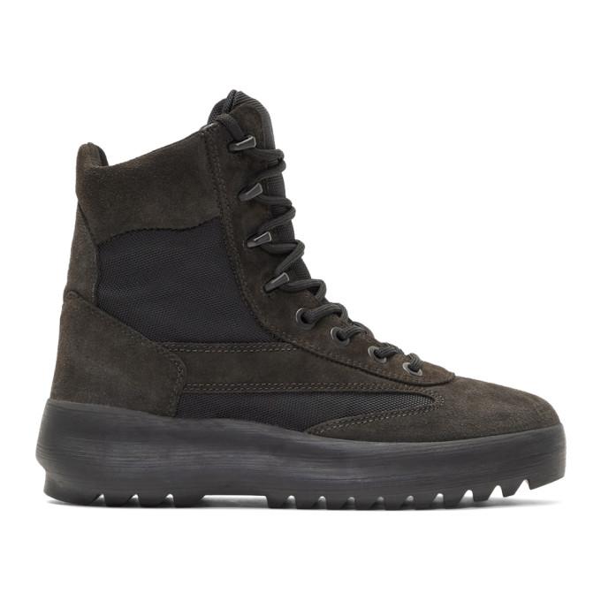 YEEZY Men'S Suede & Nylon Military Boots, Black