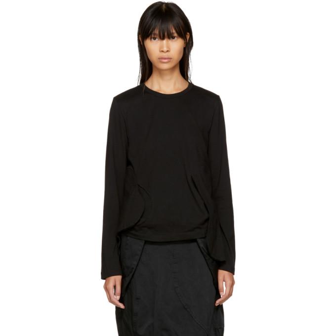 Comme Des Garçons Black Long Sleeve Cut-Away T-Shirt