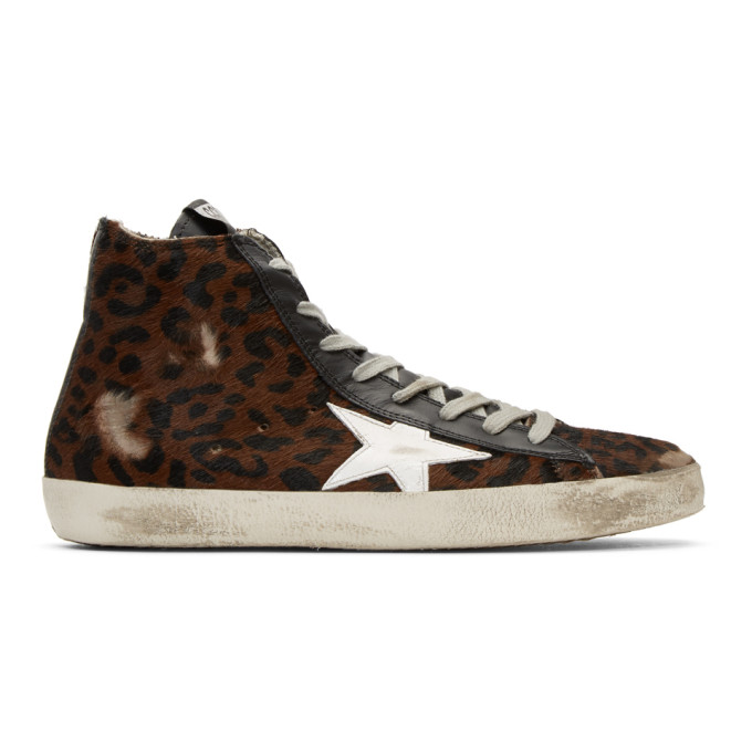 Golden Goose Brown Leopard Pony Francy High-Top Sneakers