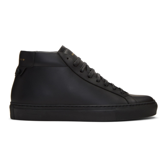 Givenchy Urban Street Mid-Top Leather Trainers In 001 Black