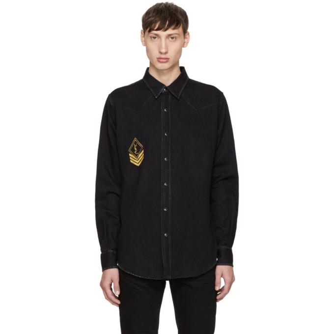 Saint Laurent Logo-print Regular-fit Denim Shirt In Dark Black