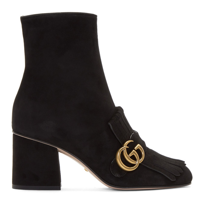 671fe8ba22bb Gucci Marmont Fringed Logo-Embellished Suede Ankle Boots In Black