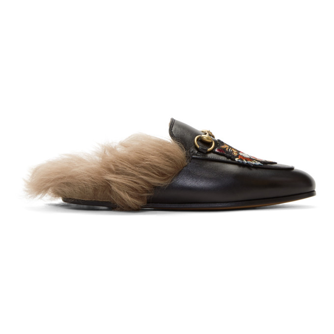GUCCI BLACK FLORAL WOOL-LINED PRINCETOWN SLIPPERS