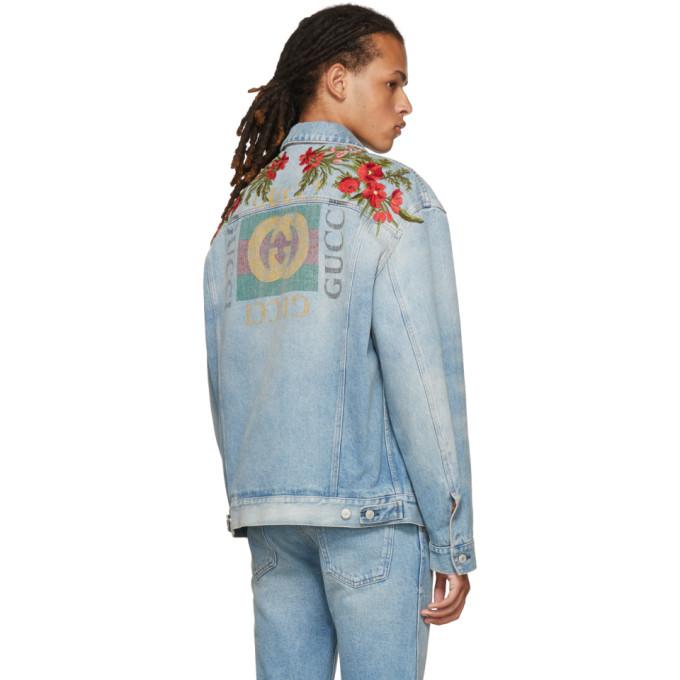 GUCCI Oversize Denim Jacket With Appliqués - Light Blue Denim