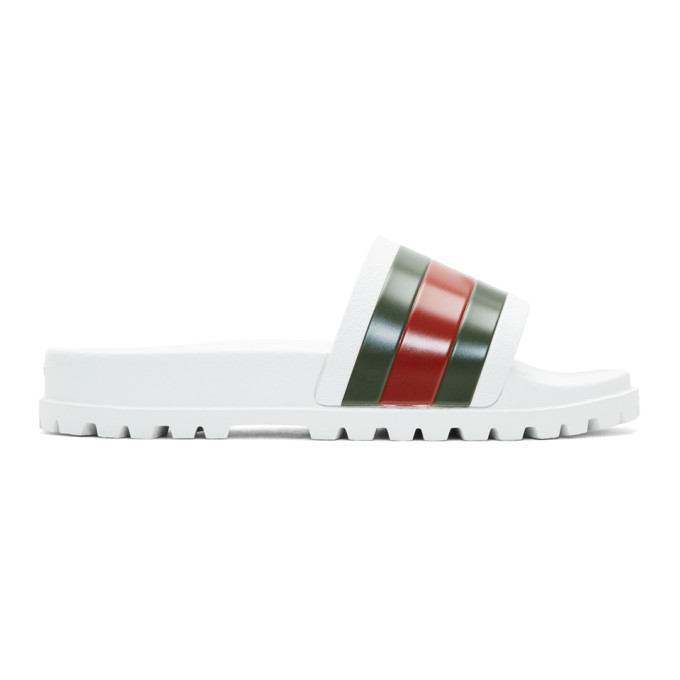 Gucci Pursuit '72 Rubber Slide Sandals, White In 9079 White