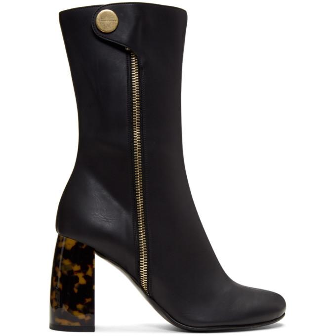 Tortoiseshell-heel boots
