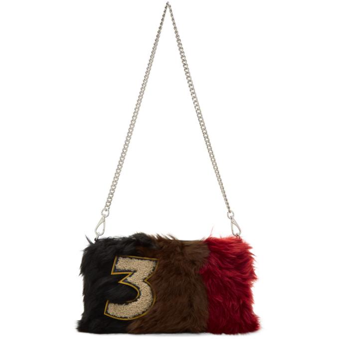 MIU MIU Brown Striped Fur Clutch, Multicolour