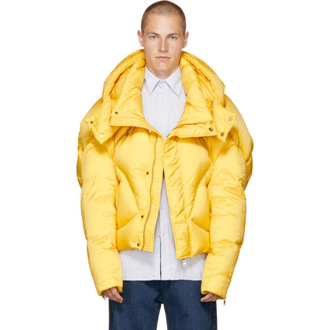 CHEN PENG Yellow Short Quilted Puffer Jacket | ModeSens