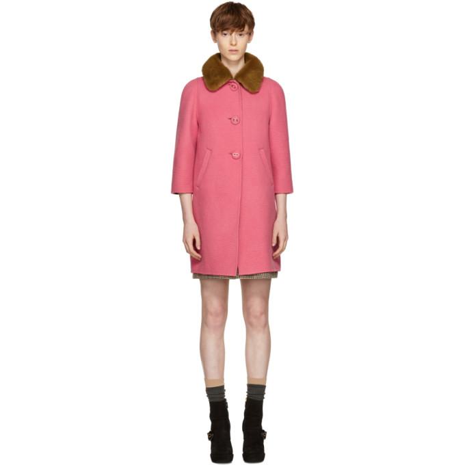 Pink Fur Collar Camel Coat