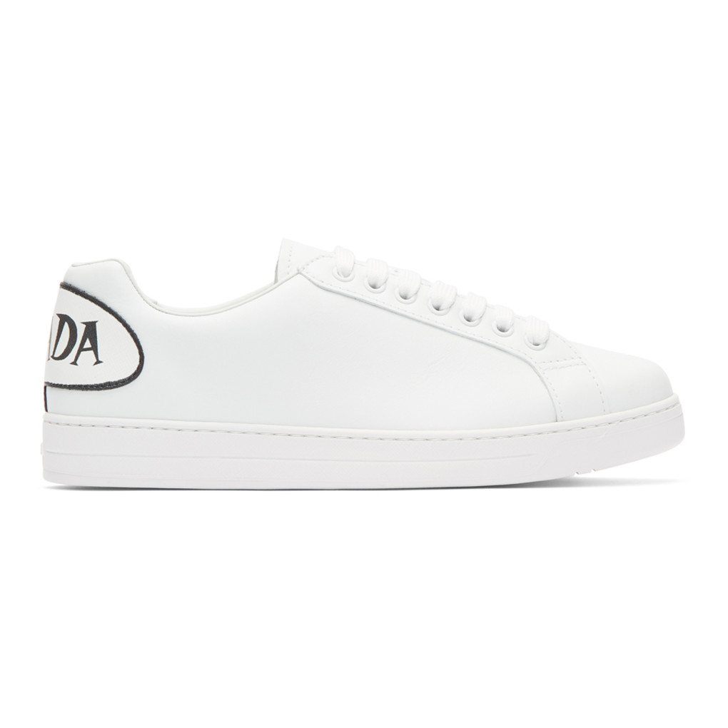 White Comic Patch Sneakers by Prada