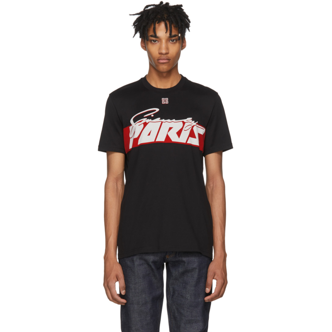 Black Motocross Print T Shirt by Givenchy