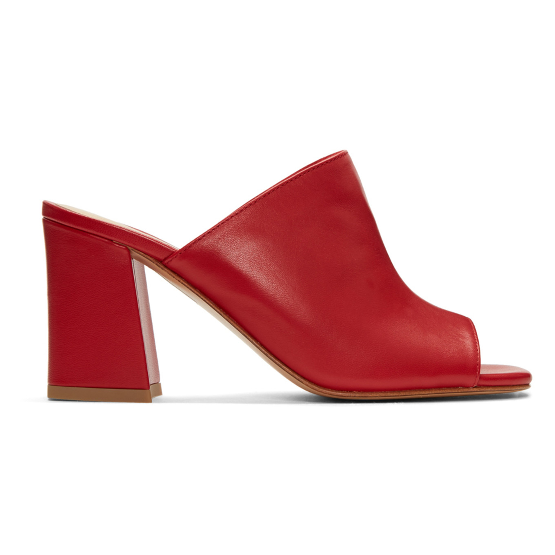 Red Penelope Slide Sandals by Maryam Nassir Zadeh