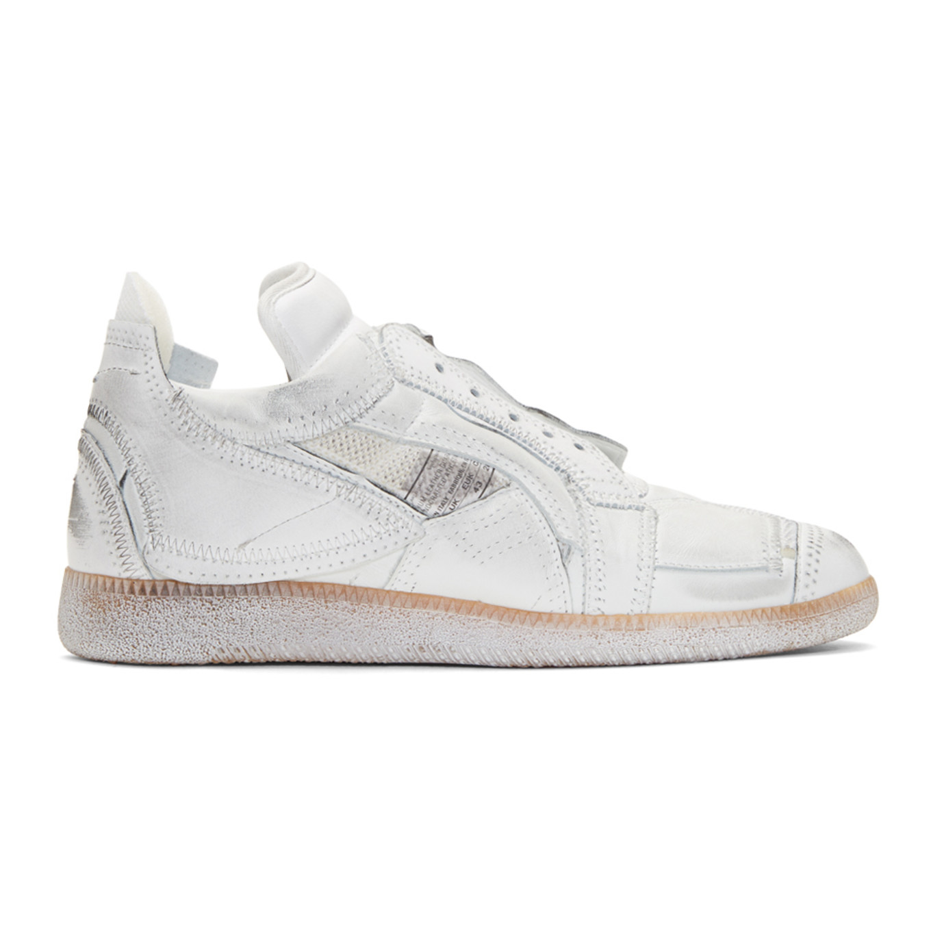 White Limited Edition Mixed Patchwork Sneakers by Maison Margiela