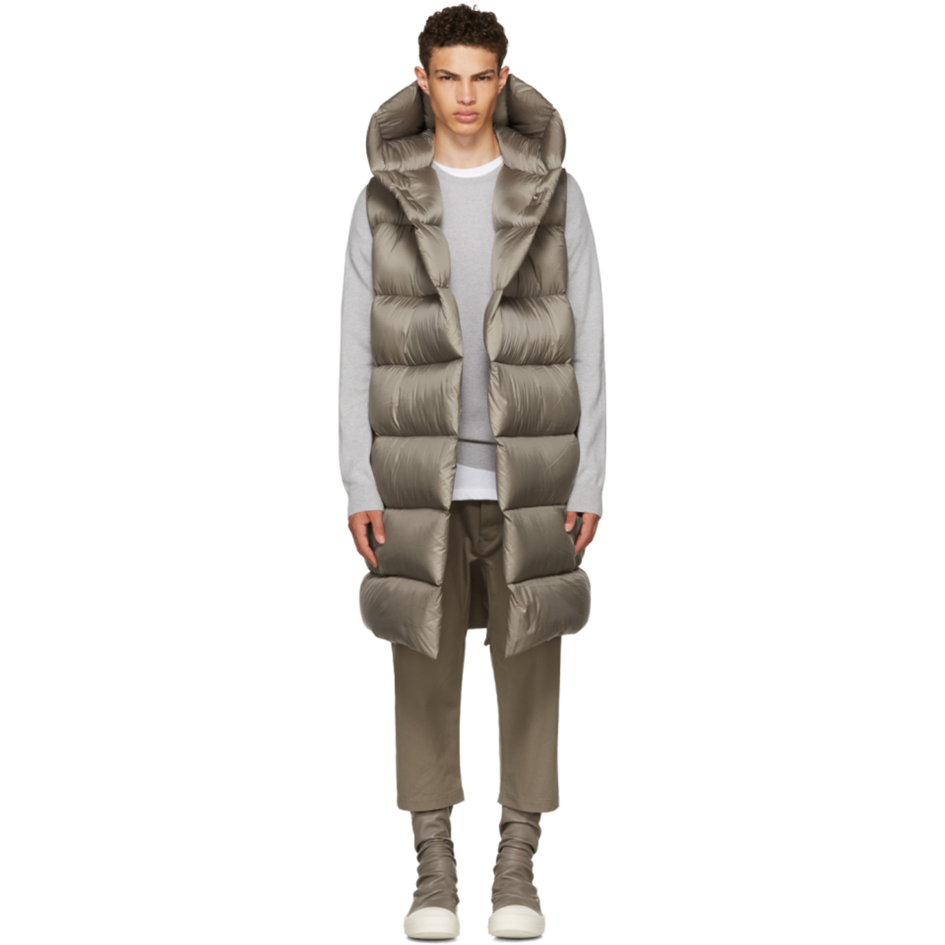 Grey Down Liner Vest by Rick Owens