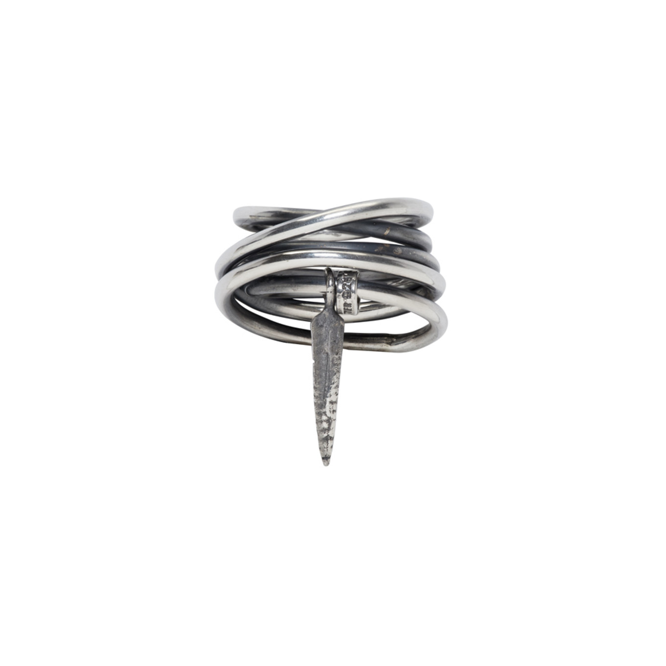 Silver Wound Wire Pendent Ring by Ann Demeulemeester