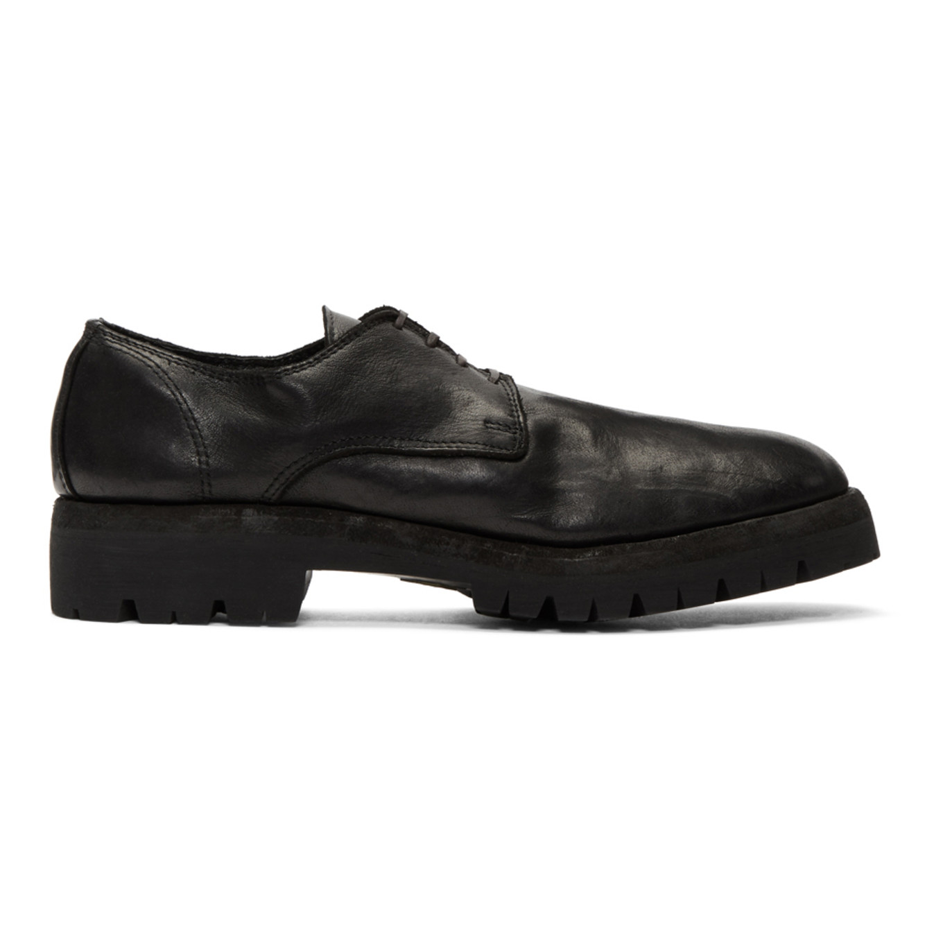 Black Leather Rubber Sole Derbys by Guidi