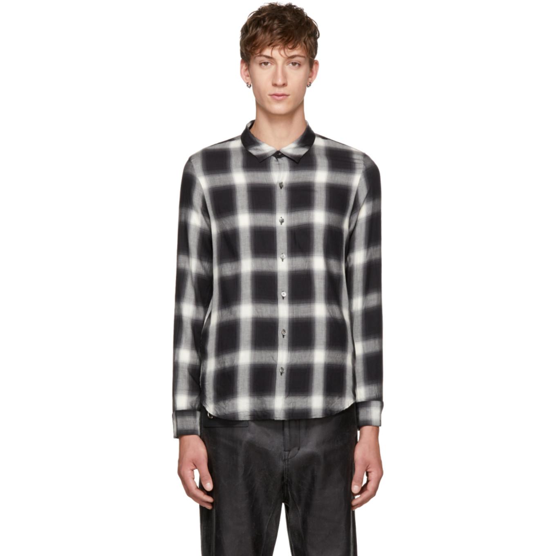 Black & White Plaid Shirt by Attachment