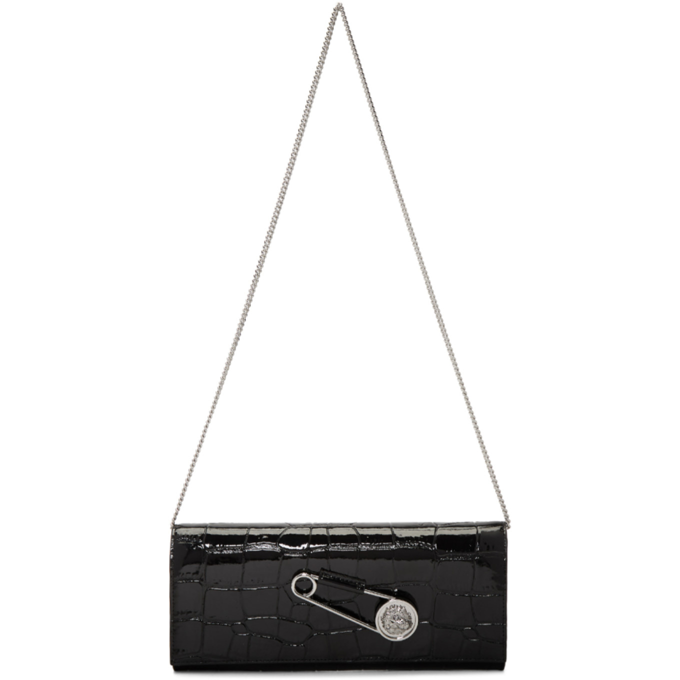 Black Croc Oversized Safety Pin Clutch by Versus