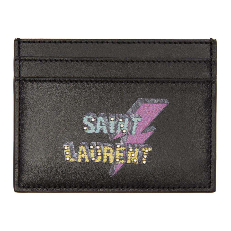 Black Studded 'saint Laurent Éclair' Card Holder by Saint Laurent